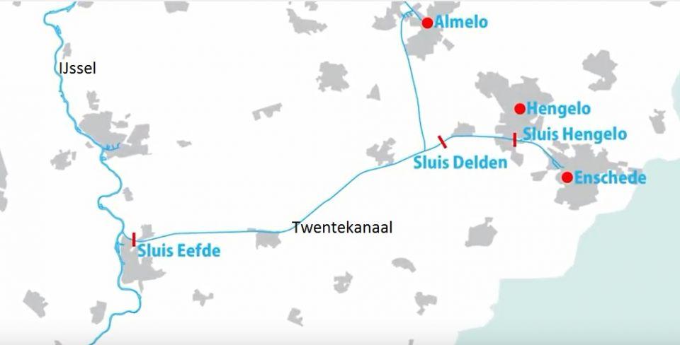 2. Ligging sluizen Twentekanaal